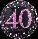 Pink Glimmer Confetti 40th Birthday