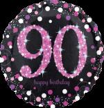 Pink Glimmer Confetti 90th Birthday