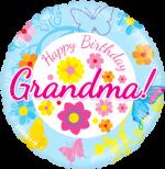 Happy Birthday Grandma Blue Floral