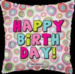 Happy Birthday Retro Pink Flowers