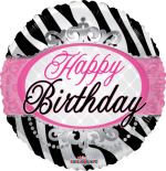 Happy Birthday Zebra Princess Stripes