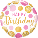 Birthday Pink and Gold Dots