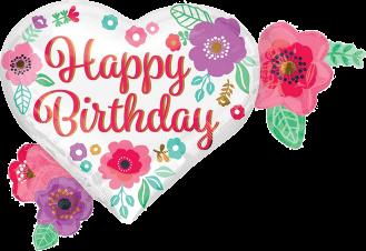 Birthday Heart Flower Cluster