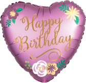 Happy Birthday Satin Flowers Heart