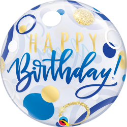 Birthday Blue and Gold Dots Bubble